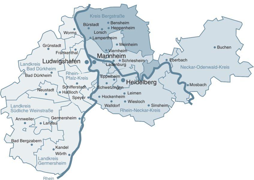 Bildergebnis für metropolregion rhein neckar karte